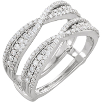 wedding rings, solitaire ring enhancers, diamond ring guards, ring wraps, anniversary bands